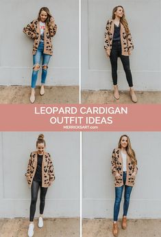 Leopard Cardigan Outfit, Cute Cardigan Outfits, Winter Cardigan Outfit, Leopard Outfits, Casual Outfits, Hijab Casual, Leopard Sweater, Hijab Chic, Printed Leggings Outfit