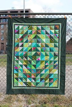 quilt, Kaffe Fassett fabrics and green solids, front