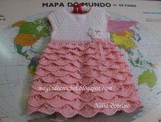 Magia do Crochet: Vestido em crochet para menina com muitos folhos...