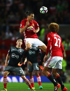 Zlatan Ibrahimovic of Manchester United wins a header during the Premier League…