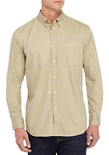 Saddlebred® Long Sleeve Twill Woven Button Down Shirt