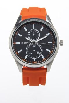 Orange watch strap and face details