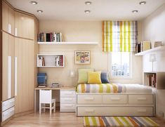 Fascinating Small Teenage Bedroom With White Floating Book Storage Also Cool Desk And Colorfur Vertical Blind As Well As Colorful Fur Rug With Space Saving Room Design