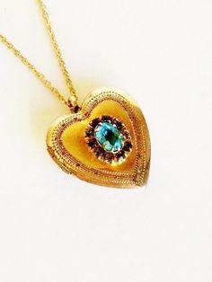 Vintage Heart Locket / Charm / Pendant / 10k Gold Filled / Aquamarine /  Etched / GF / Christmas