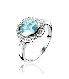 ZINZI zilveren ring blauw ZIR1085