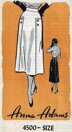 Anne Adams 4500 Delightful Skirt with Button Trim 1953