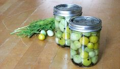 Pickled Green Cherry Tomatoes - the growing season in CO is short so I always end up with a bunch of green cherry tomatoes after the late-season burst of tomato flowers.  They are good pickled - I make skewers with pickled tomatoes, steamed and spiced shrimp, olives and pickled jalapenos and use them at brunch in Bloody Marys - SO GOOD