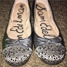 Pewter Ballet Flats Perfect condition  I wore them once, but they're too big for me and need a new home with a true size 8.5 gal.  Price is firm, unless bundled. Includes original box. Sam Edelman Shoes Flats & Loafers