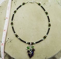 Anklet Ankle Bracelet  Purple Grape Cluster Jewelry Crystal