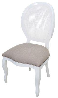 Cadeira Medalhão III Lisa com Encosto em Tela - Branca - R$ 799,00
