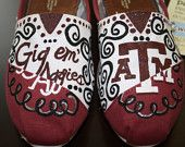 Hand Painted Texas Aggie Toms. LIKE!