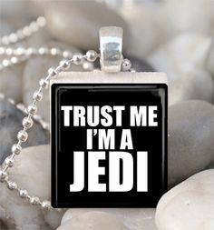 Scrabble Tile Pendant Trust Me I'm A Jedi Pendant Jedi Necklace With Silver Ball Chain (A711)
