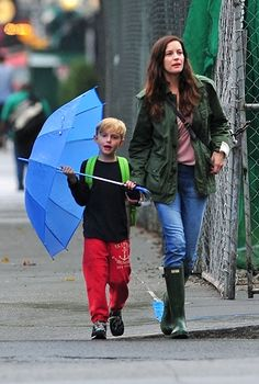 Liv Tyler and her son Milo Langdon out and about on a rainy day in New York.