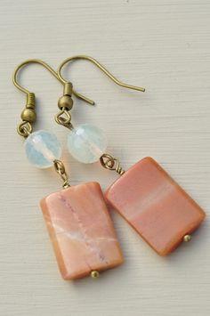 Sunset Glow Orange Agate and Quartz Bead Earrings £7.00