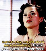 Thank you, agent, I already have. || Peggy Carter || AC 1x01 Now is Not the End || 160px × 180px || #animated #quotes