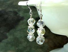 AB crystal earrings Swarovski crystals sterling by earringsbylulu, $12.00
