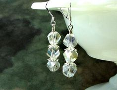 Swarovski crystals earrings sterling silver by earringsbylulu, $12.00