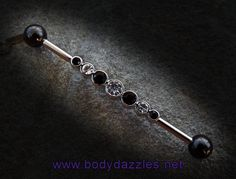 Black and White Rhinestone Industrial Barbell Surgical Stainless Steel Body Jewelry Scaffold Bar - Piercings - Industrial Bar Earring, Industrial Piercing Jewelry, Industrial Barbell, Industrial Bars, Industrial Piercing Barbells, Jewelry Model, Ear Jewelry, I Love Jewelry, Jewelry Accessories