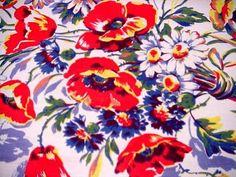 Vintage SPRING FLOWERSTablecloth BLUE SKIES Floral Bouquet nouveauqueen@ebay.com