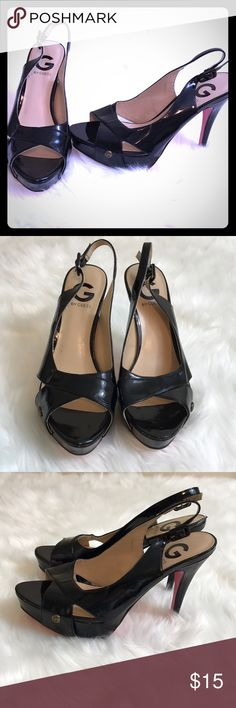 "Guess Black Ggcavion Heels Used with some scuffs and scratches through shoe (blemishes shown in pictures). Fun black shinny heels with open toe. Sling back adjustable strap. Soles show normal wear. Heel height 4.5"" G by Guess Shoes Heels"