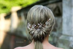 Boho Rose Gold Blush Bridal Back Headpiece Wedding Hair