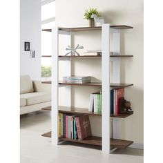 @Overstock - Furniture of America Haven 5-tier Display Bookshelf - This beautifully crafted five-shelf display bookcase, made by Haven, is the perfect addition for any home. This modern style bookcase features a white finish with walnut colored shelves and adds a touch of elegance and sophistication to any room.  http://www.overstock.com/Home-Garden/Furniture-of-America-Haven-5-tier-Display-Bookshelf/5328006/product.html?CID=214117 $175.99