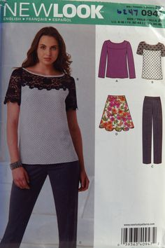 New Look 0947 Misses' Top Pants and Skirt New Look Patterns, Sewing Patterns, Sewing Ideas, Skirt Pants, Skirts, Collection, Layers, Etsy, Tutorials