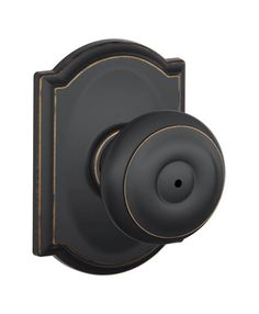 Schlage F40 GEO CAM Privacy Georgian Door Knobset With The Decorative  Camelot Ro Aged
