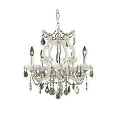2800 Maria Theresa Collection Hanging Fixture D20in H25in Lt:5+1 White Finish (Royal Cut Golden Teak Crystal)