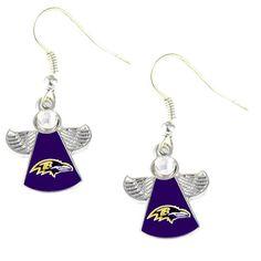 Baltimore Ravens Crystal Angel Wing Earrings
