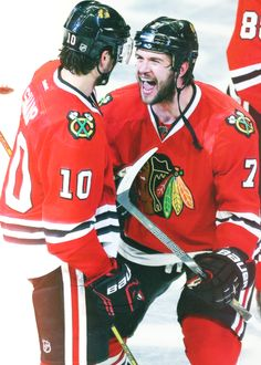 Patrick Sharp celebrates with Brent Seabrook, who scored the Game 7, series-winning overtime goal against the Detroit Red Wings to advance to the Conference Finals. (Source: seabrooks)