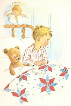 by Elizabeth Webbe. Vintage Boys, Vintage Children's Books, Vintage Cards, Old Teddy Bears, My Teddy Bear, Teddy Bear Drawing, Sleeping Boy, Images Vintage, Boy Illustration