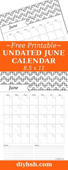 June Black & White Calendar - Free Printable | DIY Home Sweet Home