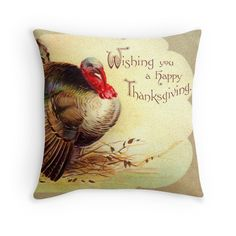 Thanksgiving Turkey Greetings Throw Pillows. Restored original vintage art for americana fall / autumn decor by Meteora Digital Art.