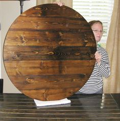 Farmhouse Style Wood Lazy Susan Turntable Any Stain Color (Sizes 18 Inch To  30 Inch