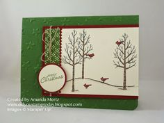 Simple Winter Scene created by Amanda Mertz with White Christmas SU stamp set Simple Christmas Cards, Christmas Paper Crafts, Christmas Mom, Xmas Cards, White Christmas, Christmas Paintings, Winter Cards, Winter Scenes, Homemade Cards