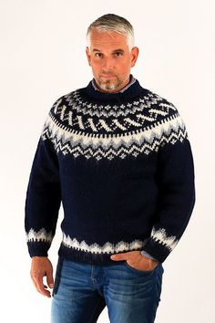 Icelandic sweaters and products - Traditional Wool Pullover Blue Wool Sweaters - NordicStore Hand Knitted Sweaters, Wool Sweaters, Blue Sweaters, Sweaters For Women, Fair Isle Knitting Patterns, Knitting Designs, Sweater Shop, Men Sweater, Pull Jacquard