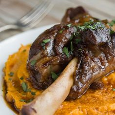 """a former vegetarian would like to be """"adventuresome"""" with her meat cooking...how bout this? Recipe: Braised Lamb Shanks & Root Vegetable Puree"""