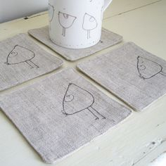 embroidered chicken coasters