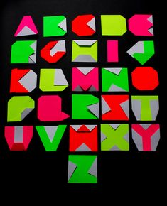 Folding paper to create an alphabet is a popular idea that never gets old. Origami alphabet. By Emma Downing.