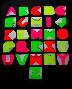 Neon origami alphabet