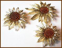 Vintage Brooch Earring Set Amber Sunflower Sarah Coventry Mid Century Designer Jewelry VG