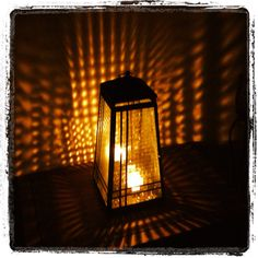 Partylite lantern at night