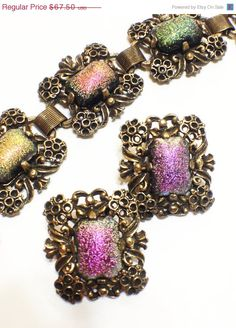 ON SALE Vintage Judy Lee Bracelet Earrings by GracesVintageGarden