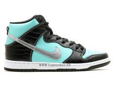 check out 13fff c5f30 Nike Dunk High PRM SB Chaussures De Basketball Pas Cher Pour Hommes Bleu  ciel noir blanc