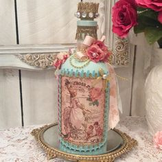 Altered bottle Marie Antoinette style turquoise by lilhoneysshoppe