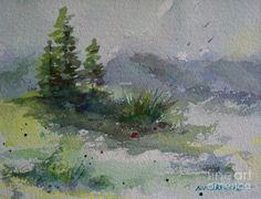 Watercolor Pine Trees | Three Pine Trees Painting by Bambi Rogers - Three Pine Trees Fine Art ...