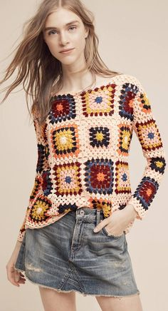 Granny Square Crochet Top and Blouses Ideas for This Year! Part 1 : Granny Squa. : Granny Square Crochet Top and Blouses Ideas for This Year! Part 1 : Granny Square Crochet Top and Blouses Ideas for This Year! Part 1 Crochet Bolero, Crochet Cardigan, Crochet Granny, Knit Crochet, Crochet Jumpers, Top Pattern, Pattern Design, Vintage Crochet, Crochet Clothes