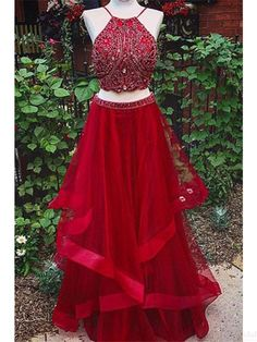 Two Pieces Red Beading Bodice  Long Prom Dresses Evening  Dresses  #SIMIBridal #promdresses