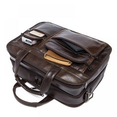 bf3049eb4d Genuine Leather Versatile Multiple Compartments Business Briefcase for Men.  HisHerWear · Bags